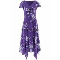 Apartes Damen Kleid mit Zipfelsaum und Blumendruck