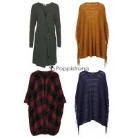 Damen Ponchos Strick Cardigan Pullover Herbst Mix Restposten