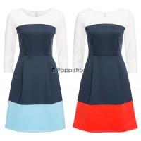 Damen Kleid mit Blockfarben 2 Farben Kleider