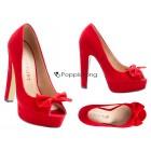 Damen Schuhe Peeptoe Pumps Rot Absatz