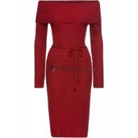 Strickkleid Rot Damen Carmenausschnitt Kleid