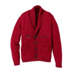 Herren Strickjacke Cardigan rot Regular Fit